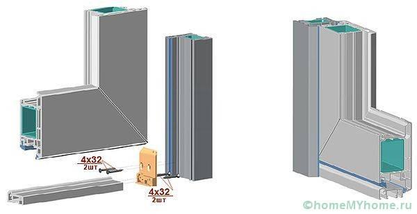 Профиль пластиковой конструкции в разрезе