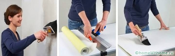 Клей на поверхность стены и на обойный лист можно наносить одновременно