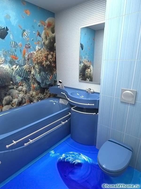 Наливной пол в ванной можно оформить в цвет стен