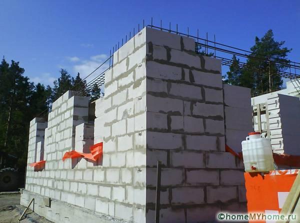 Возведение стен из газобетонных блоков