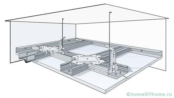 Подобная конструкция применяется в супермаркетах и других производственных помещениях