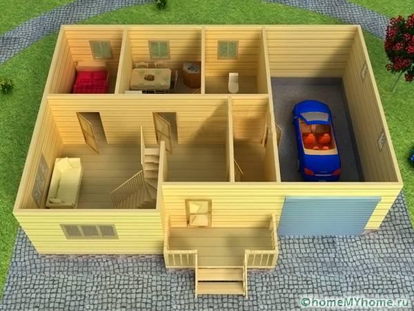 Простенький дом из дерева с гаражом