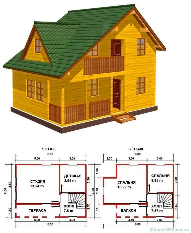Планировка строения в два этажа с террасой