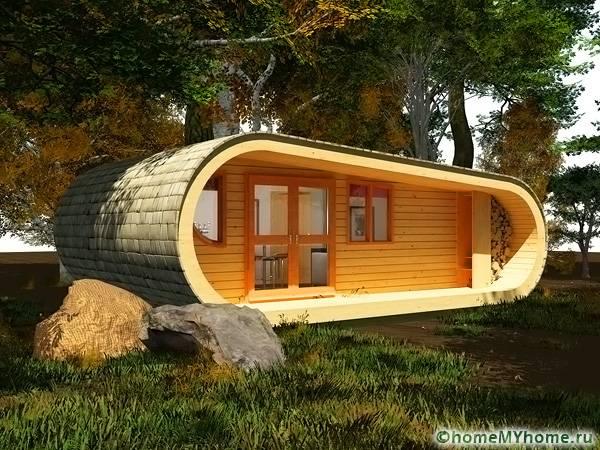 Одноэтажный домик необычной формы