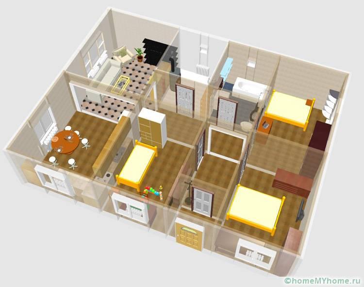 В данном проекте предусмотрены не только три спальни, но и отдельная гостиная, а также котельная