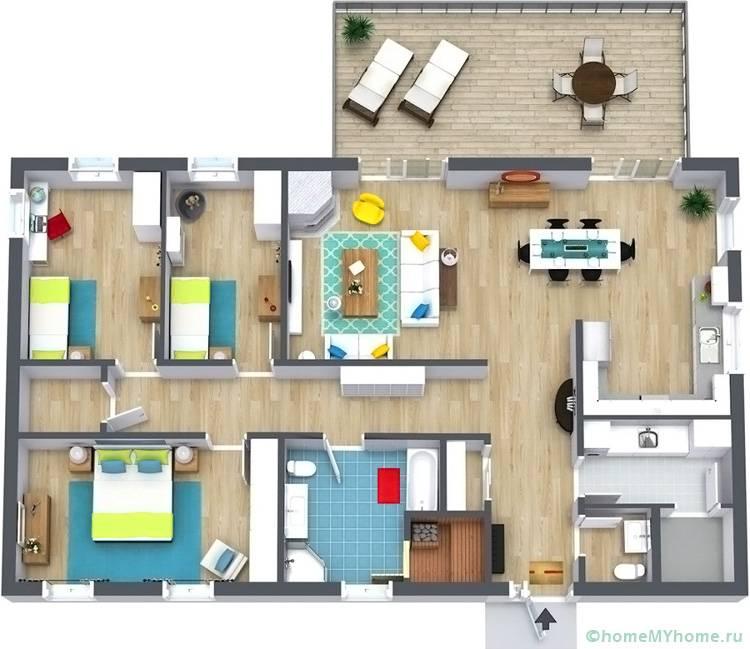 Если площадь ограничена, то не стоит экономить на площади спален, лучше объединить другие комнаты