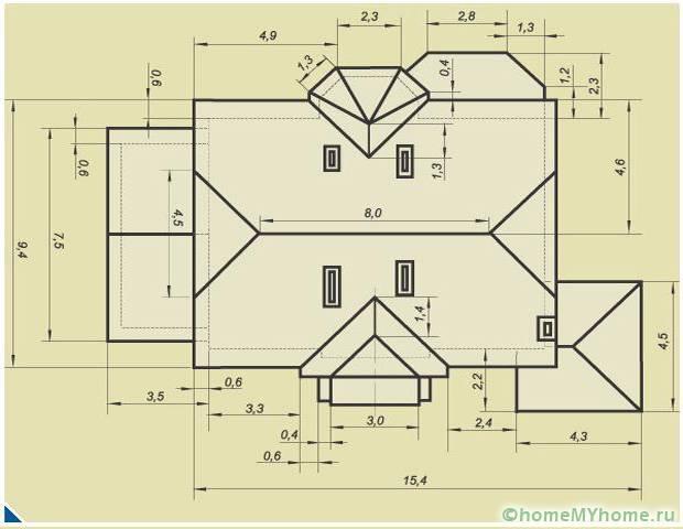 Для расчета сложной конструкции крышу нужно разбивать на отдельные части