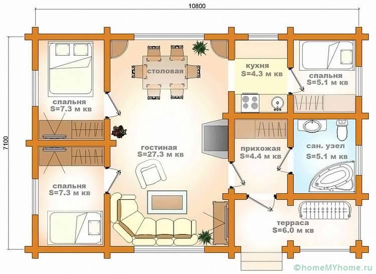 На схеме изображено объединение столовой с кухней, а также открытое пространство с кухней