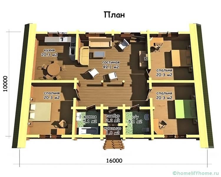Проект, включающий три спальных комнаты, пользуется популярностью. Даже на небольшой площади данные комнаты могут быть не проходными