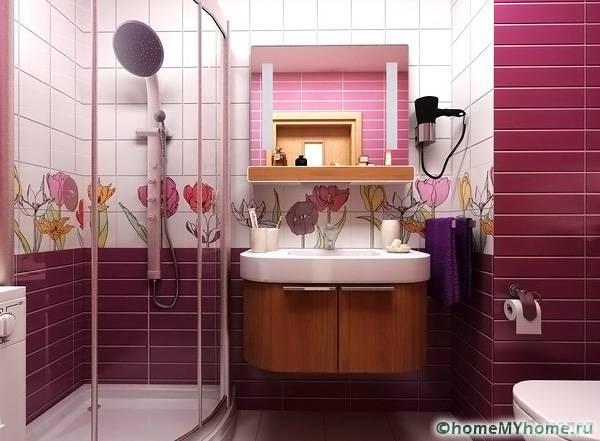 В совмещенном санузле не обязательно использовать ванну, можно поставить душевую кабину
