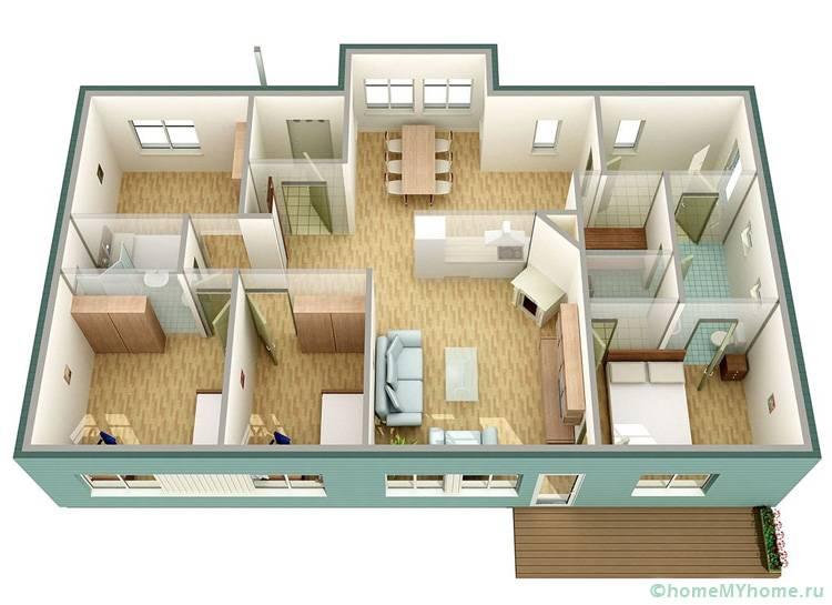 При проживании в доме целой семьи можно родительскую спальню разместить в отдалении от детских комнат