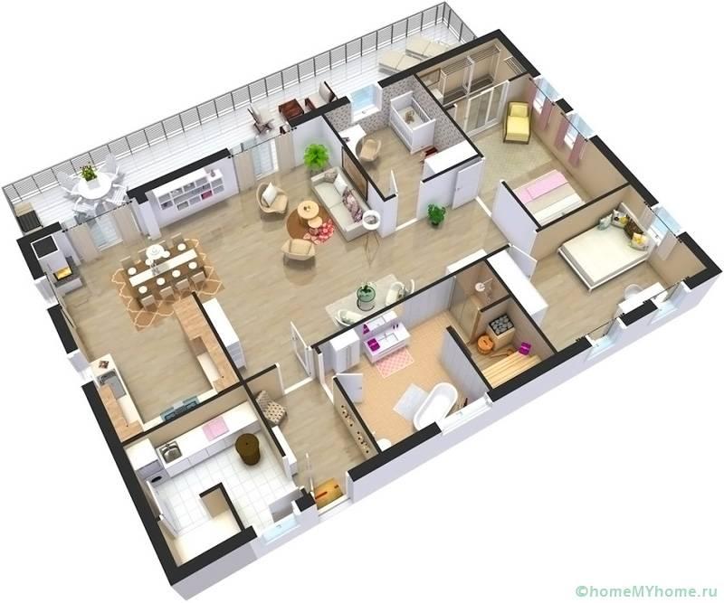 Проекты одноэтажных домов с тремя спальнями делаем