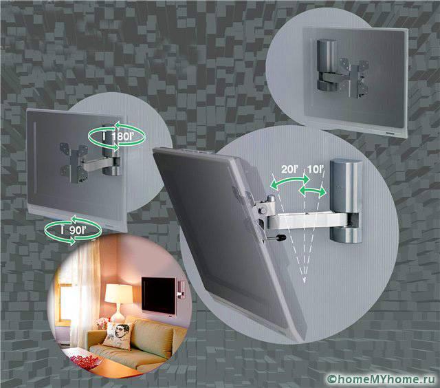 Выдвижные устройства позволяют подвигать телевизор на нужное расстояние