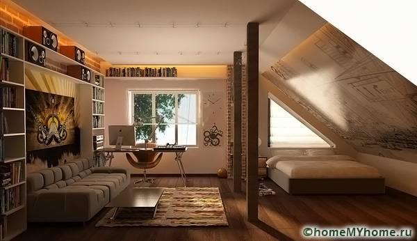 На мансарде можно соорудить прекрасную комнату для подростка