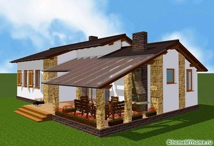 Из террасы можно сделать утепленный вариант. В этом случае оборудуется зимний сад, летняя кухня или дополнительное пространство для отдыха