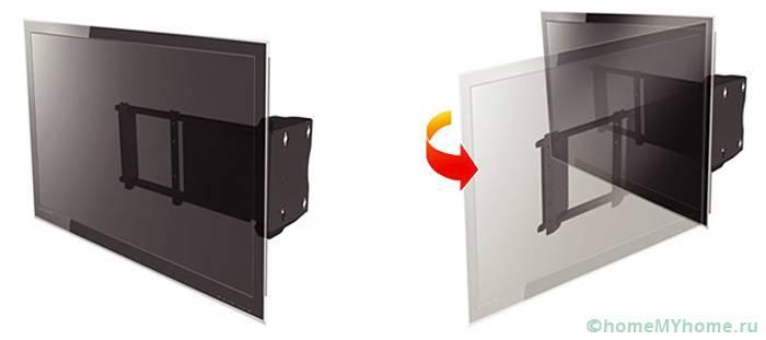 Поворотные изделия позволяют разворачивать экран в сторону под нужным углом