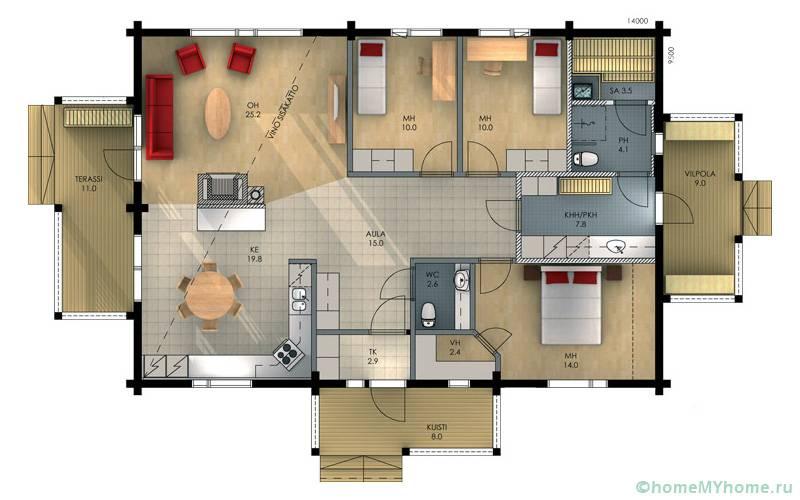В данном проекте отсутствует холл, а пространство кухни и гостиной объединяются. Площадь немного расширяется с помощью террас с двух сторон