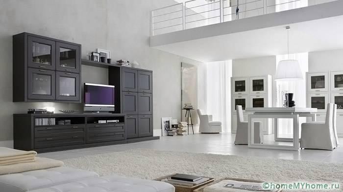Стенки для гостиной в современном стиле: фото