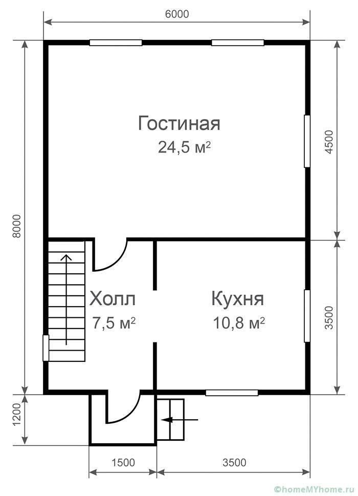 Пример простой планировки в строении 6 на 8 м