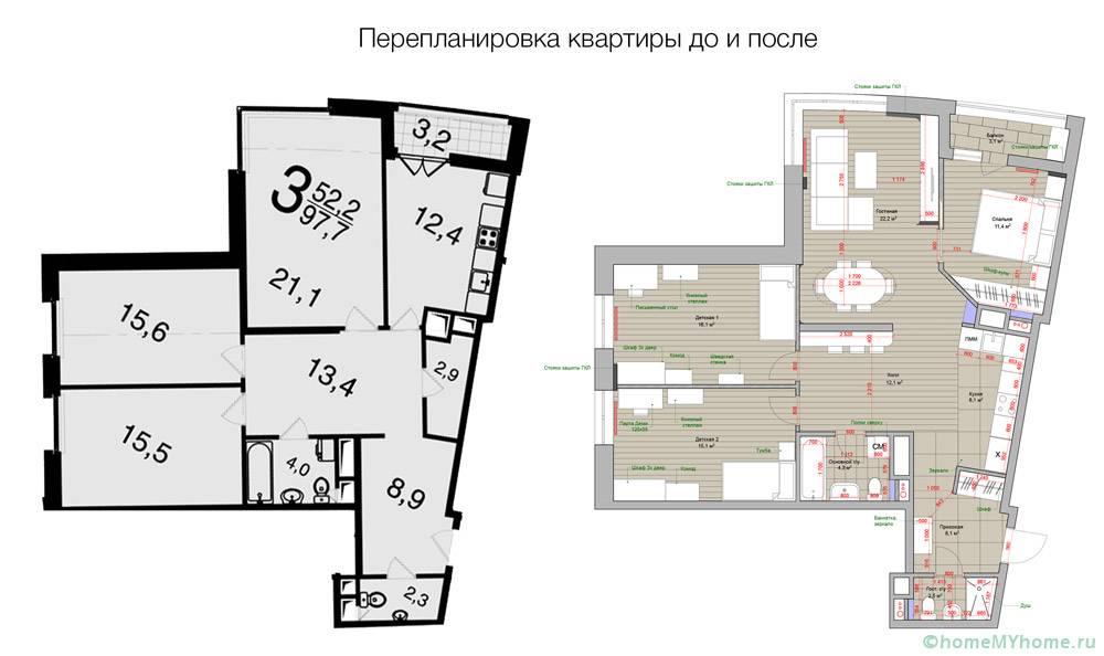 Пример изменений в жилище сложной конфигурации