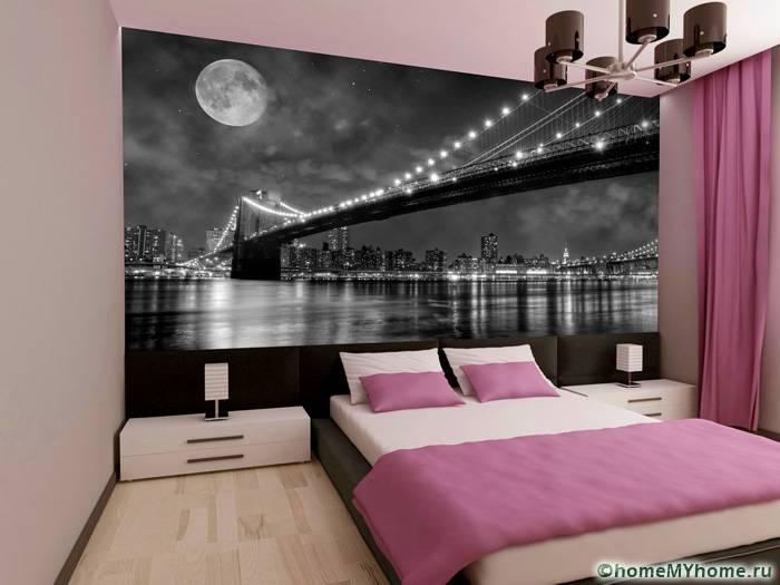 Использование нейтрального фона и текстиля позволяет применить более динамичные фотообои