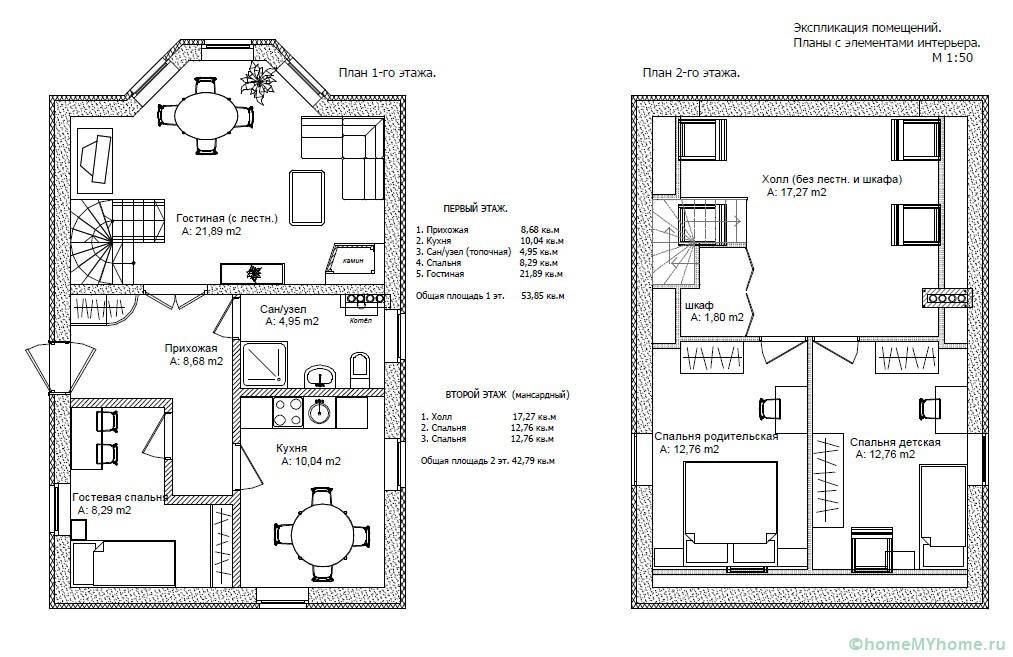 Расположение комнат и мебели на плане сооружения с эркером
