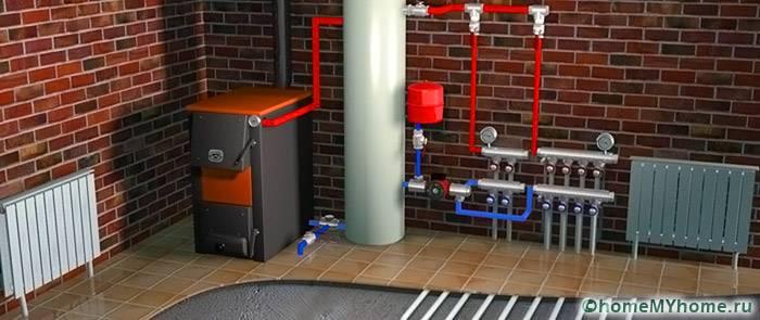 При выборе твердотопливной конструкции стоит учитывать дополнительные устройства. Например, подачу горячей воды или теплые полы