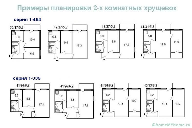 Примеры планировок 2-х комнатных хрущевок
