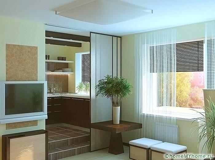 Легкие конструкции перегородок, подиумы и раздвижные двери позволят отделить пространство