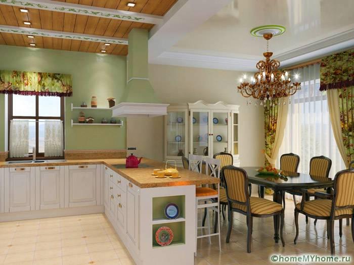 В кухонной зоне и гостиной можно использовать разные варианты осветительных приборов