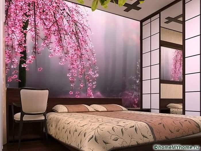 Если грамотно подобрать узор, то объемные обои можно применять даже в спальнях небольшого размера