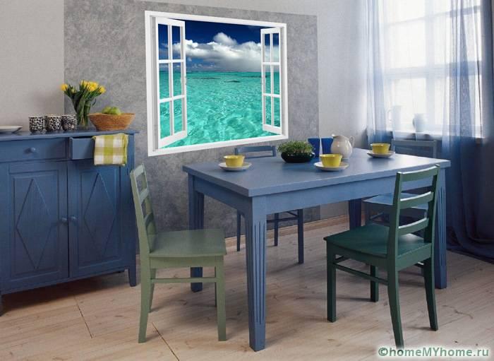 Фотообои на кухне могут стать дополнением обеденной зоны