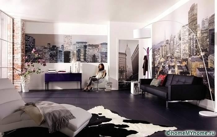 В просторных комнатах можно использовать несколько блоков идентично изображения, что позволит придать большую объемность помещению