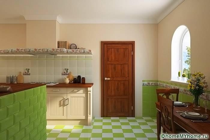 С помощью недорогого напольного покрытия создаются оригинальные кухонные интерьеры