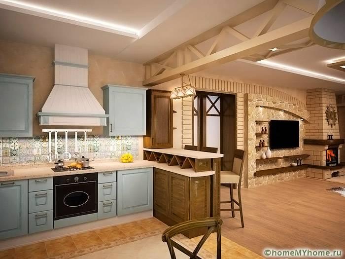 Если минимизировать количество декора, то для объединенного помещения можно использовать оформление в стиле прованс