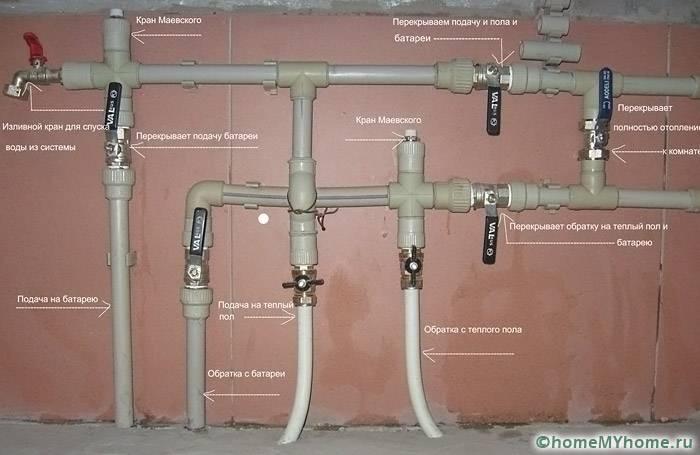 На схеме отображены основные элементы отопительной системы и направление теплоносителя