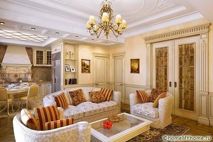 Если в классическом интерьере правильно использовать детали, то комната не будет выглядеть перегруженной