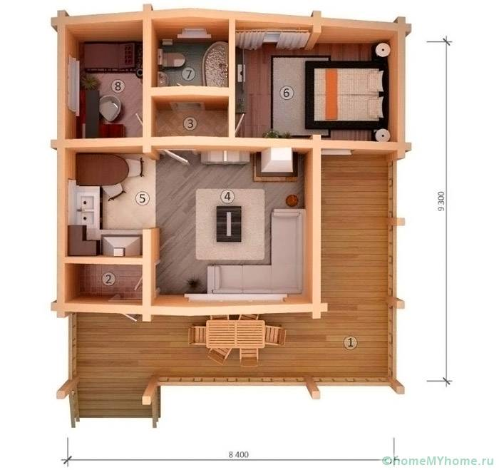 Примеры планировок брусовых домов