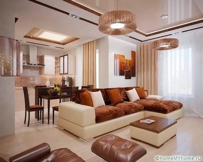Умело комбинируя цвета и предметы мебели можно создать эргономичный интерьер даже в больших комнатах
