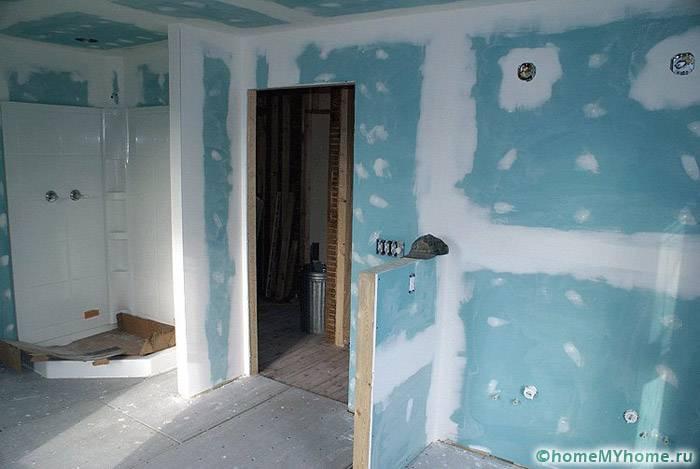 Отделка стен ванной влагостойким ГКЛ