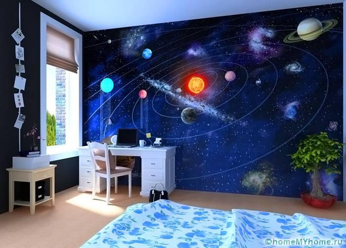 Картинки с космической тематикой отлично подходят для детской комнаты