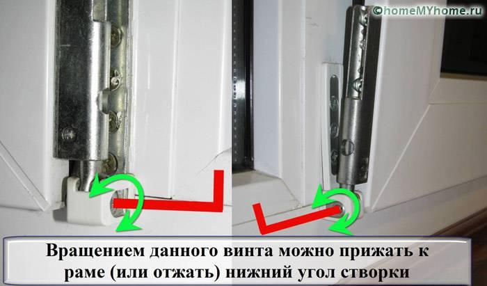 Вращением винта нижний угол створки можно прижать к раме или отжать