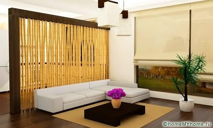 Бамбуковые ширмы используются в эко и этнических интерьерах