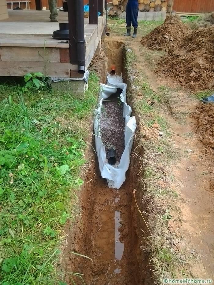 Элементы ливневой канализации уложены над дренажными трубопроводами