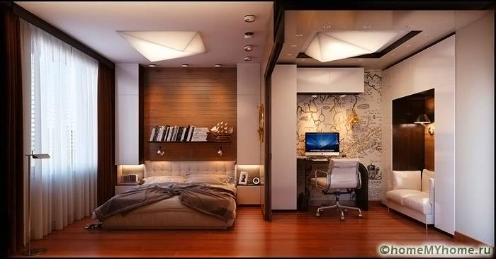 Спальное место и рабочее пространство можно разделить при помощи фигурных конструкций