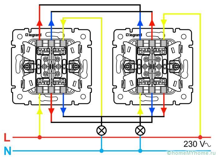 Схема подключения проходного двухклавишного выключателя legrand 190