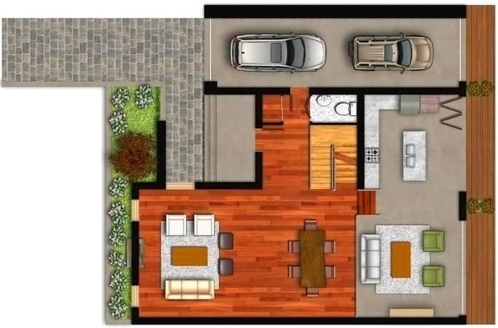 План первого этажа с отдельным входом в гараж