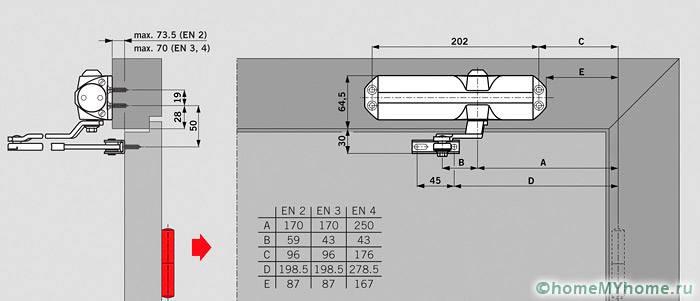 Схема установки механизма