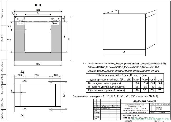 Чертеж с размерами бетонной емкости для сбора воды