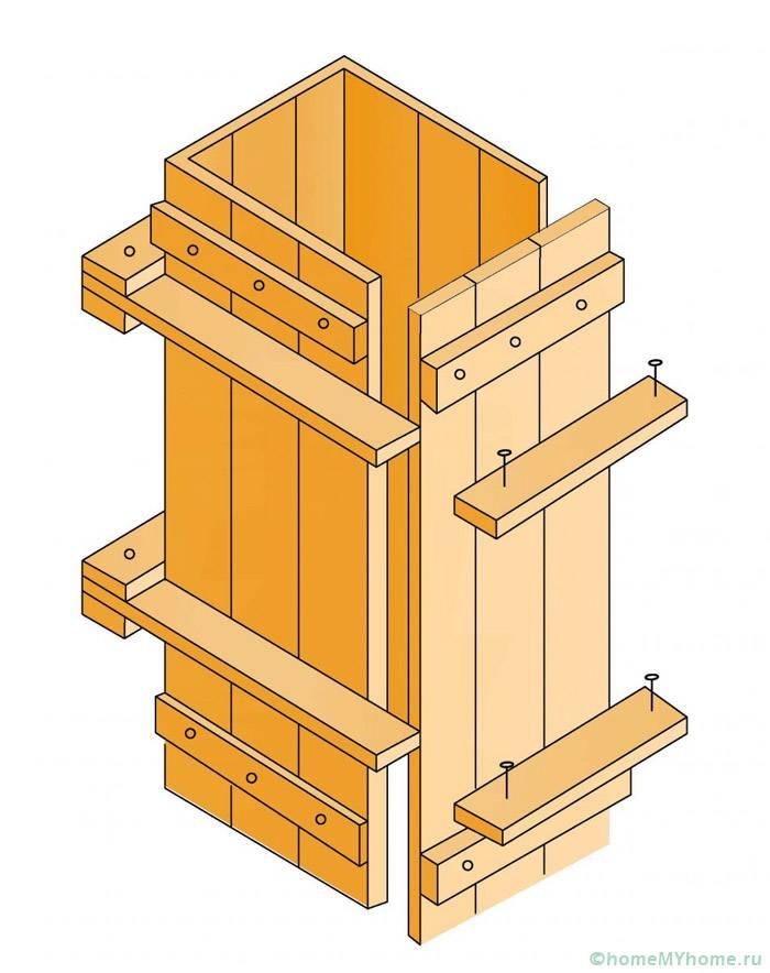 Опалубка для изготовления отдельно стоящих опор из бетонной смеси